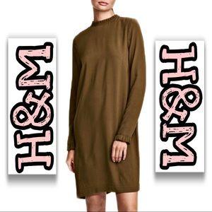 H&M | Olive Green Frill Trim Shift Dress SZ L (14)